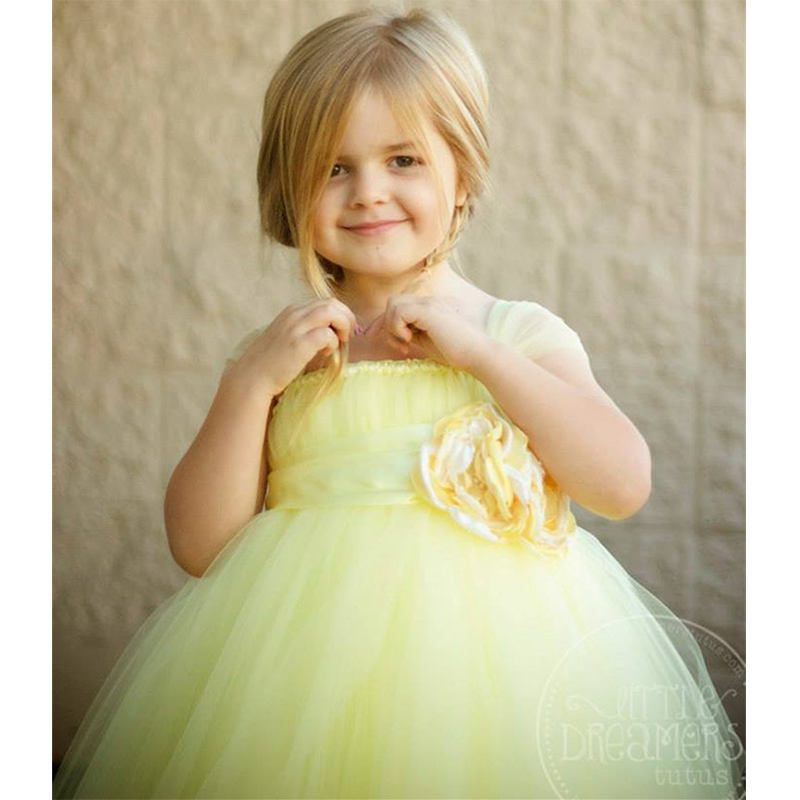 Flower Girl Princess Party Tutu Wedding Dresses Ankle Length Ball Gown Baby Girls Fluffy Tutu Dress For Birthday Party in Dresses from Mother Kids