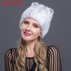 Image 5 - JERYAFUR Sombrero de piel de visón a la moda rusa, sombrero de piel de zorro, moda juvenil, orejas de gato, estilo lindo visón, gorro con pelo, gorro de esquí, gorro con pelo