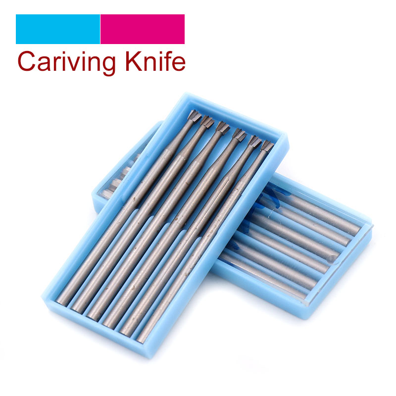 DouZ 1/6pcs 2.35mm Shank 0.6-2.3mm Precision Tungsten Carbide Burrs Milling Cutter Rotary Tool Inverted Ladder Carving Knife