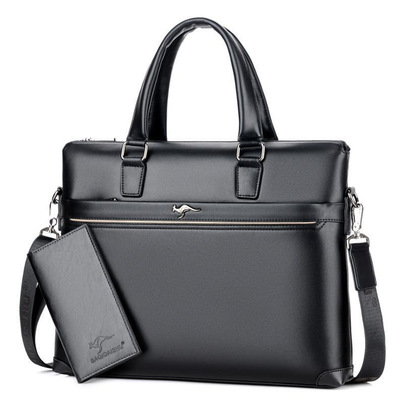 2018 New Arrival Need Attrsplit Leather Zipper Solid Men Business Polyester Single Silt Pocket Soft Handle 14 Inches Briefcases