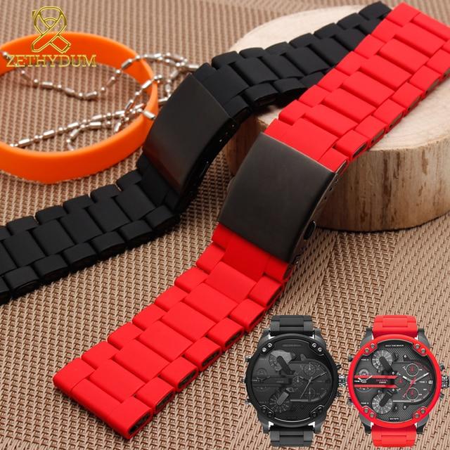 Impermeabile braccialetto in silicone per i diesel watch band 28 millimetri DZ7396 DZ7370 DZ428 gomma e cinturino in acciaio inox mens cinturino