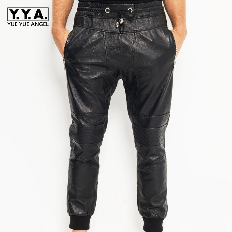 Pants Harem Pants Males Hot Sexy Black Patent Leather Low Waist Trousers New Style Streetwear Pantalon Hombre Nightclub Stage Performance Costumes Traveling