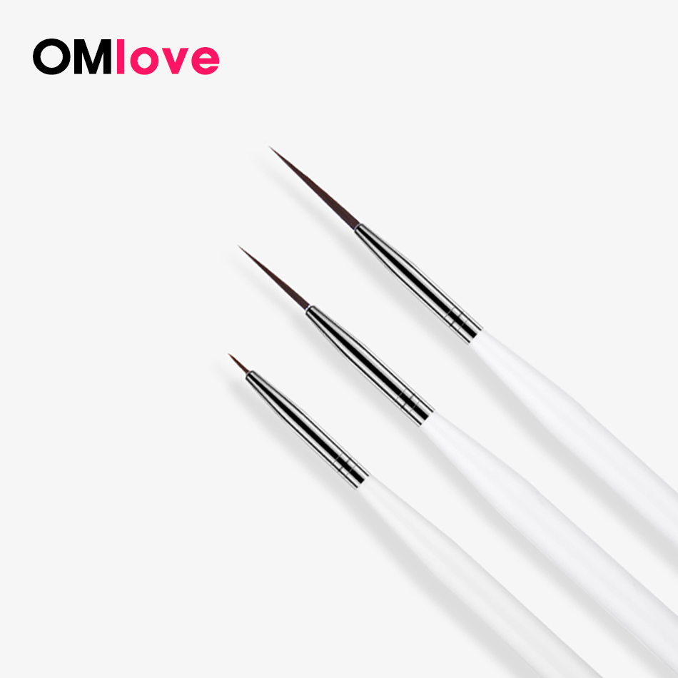 OMlove 3Pcs/set Nail Art Liner Painting Pen 3D Tips DIY Acrylic UV Gel Brushes Drawing Line Grid French Design Manicure Tool