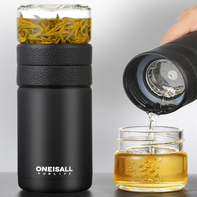 600ml tea separation cups High grade portable stainless steel thermos with glass cover with filter men's cups insulated mug