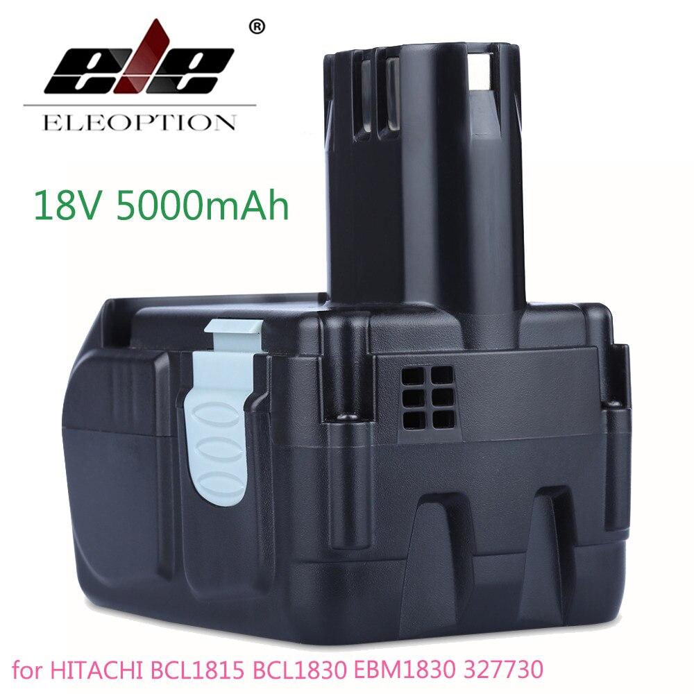ELEOPTION High Capacity 18V 5000mAh Li ion Battery for HITACHI BCL1815 BCL1830 EBM1830 327730 Rechargeable Power