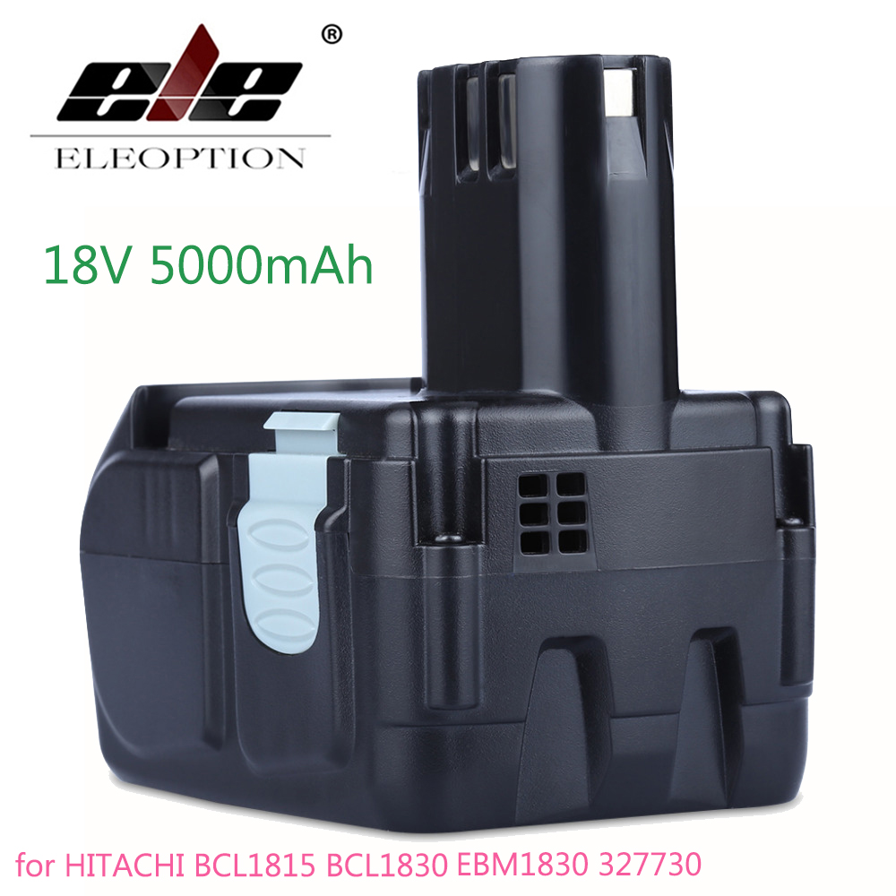 ELEOPTION High Capacity 18V 5000mAh Li-ion Battery for HITACHI BCL1815 BCL1830 EBM1830 327730 Rechargeable Power Tool Battery купить в Москве 2019