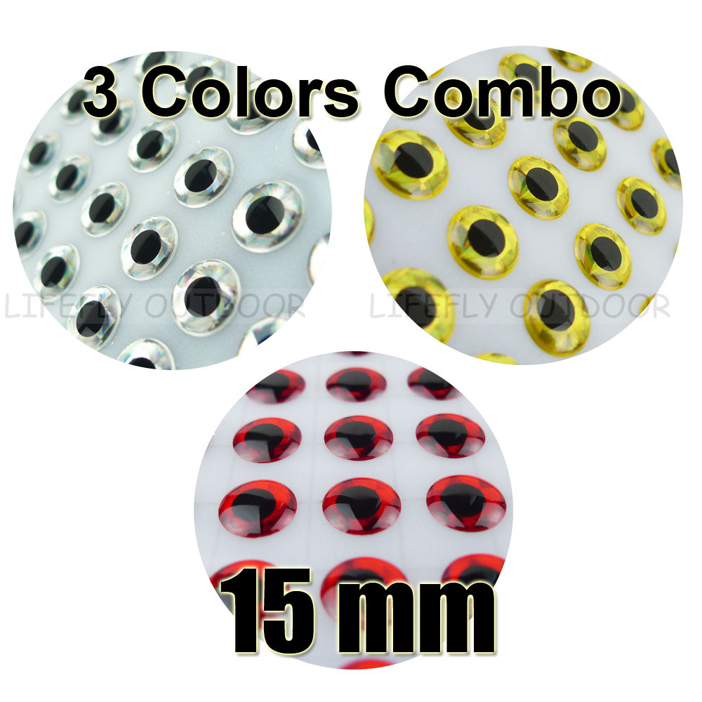 Fly Lure Wholesale 180 Soft Molded 3D Holographic Fish Eyes 15mm 3D Real.Dark