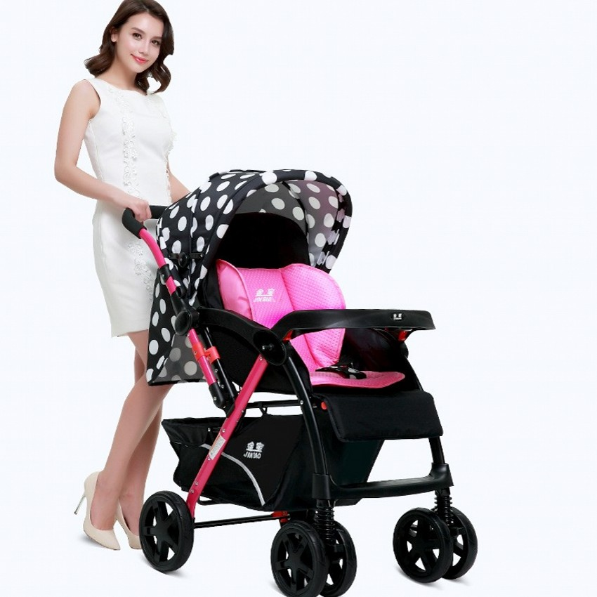 цена New Style High Landscape Baby Stroller Can Sit Can Lie Umbrella Baby Trolley Portable Folding Stroller For 0-36 Months