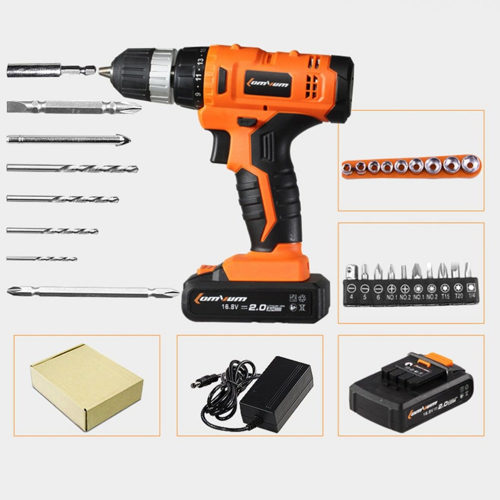 16.8V Professional Cordless Electric Drills Rechargeable Lithium Battery Electric Screwdriver Mini Drill Kit Screw Gun Set 45pcs drills 4 8v cordless rechargeable reversible electric screwdriver tool set electric screwdriver with plastic case
