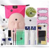False Eyelashes Extension Practice Exercise Kit Makeup Mannequin Head Set Grafting Eyelash Tools Kit Practice Eye Lashes Graft