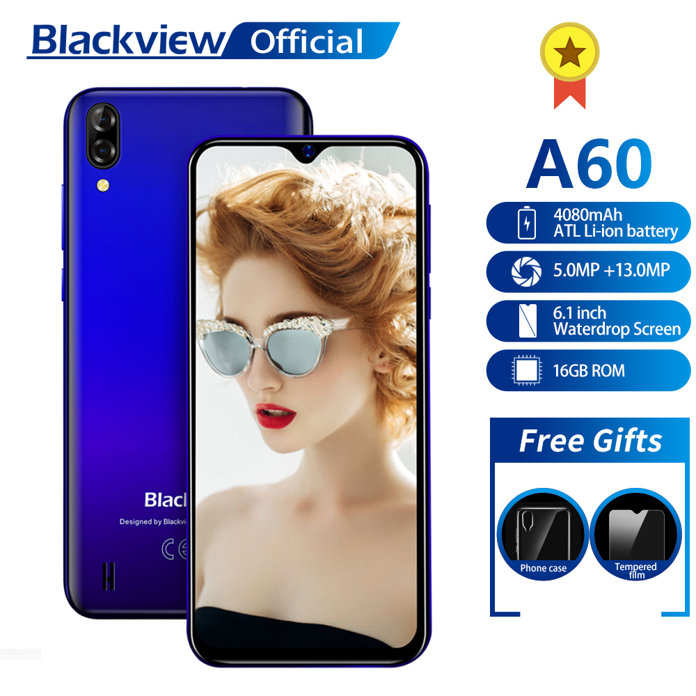 Blackview A60 Smartphone Quad Core Android 8.1 4080mAh Cellphone 1GB+16GB 6.1 inch 19.2:9 Screen Dual Camera 3G Mobile Phone(China)