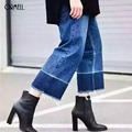 ORMELL Women Fashion Vintage Jeans Female Spliced Blue Casual Wide Leg Pants 2016 Autumn Winter Pockets Jeans Women Bottom
