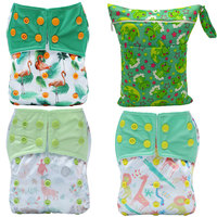 [Bomitoo]3Pcs Cloth Diapers Pocket With 3Pcs Microfiber Inserts + 1Pc Diaper Bag Carton Animals Baby Washable Cloth Nappies