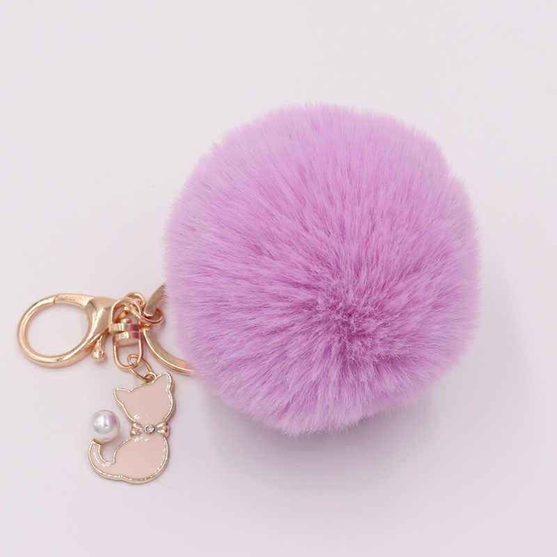 Chaveiro de pele de gato rosa bonito pompom bola de pele falsa chaveiro fofo pompom chaveiro saco encantos chaveiro anel chave do dia dos namorados presente