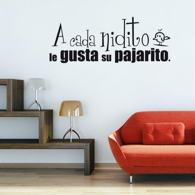 Each Bird Likes His Nest Spanish Wall Decal Home Decor Vinyl Removable Art Words Wall Mural