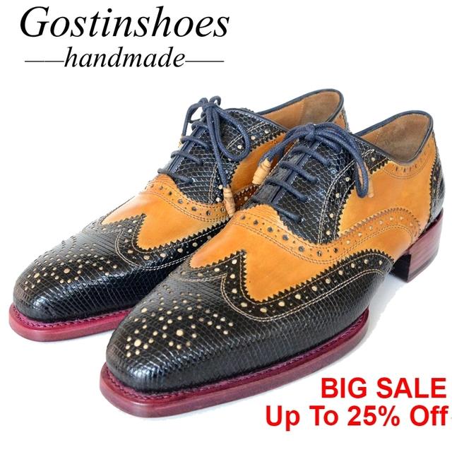 GOSTINSHOES HANDMADE Goodyear Welted Luxury Genuine Lizard Skin Leather Wingtip Men Dress Formal Oxfords Shoes Lace-Up SCF4