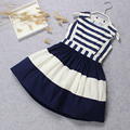 Free Shipment Girls Dress Fashion Cotton Sleeveless Korean Style Dress Summer Casual O-neck Striped Dress For Girls Party
