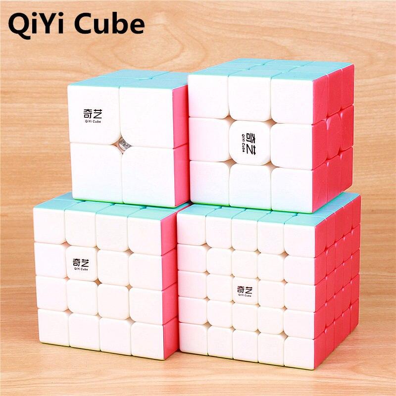 QIYI guerreiro 3x3x3 4x4x5x5x5 4 Cubos Mágicos Crianças brinquedos Cubo de Velocidade Puzzles Aprendizagem adesivo menos Brinquedos bolso Cubo Magico 2x2x2