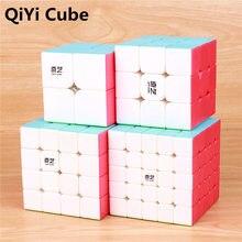 QIYI Cubes magiques de guerrier 3x3x3 4x4x4 5x5x5, jouets pour enfants, puzzle rapide, Cube dapprentissage, autocollant moins de Magico, jouets de poche 2x2x2