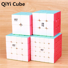 QIYI warrior rompecabezas de velocidad para niños, 3x3x3 4x4x4 5x5x5 cubos mágicos, pegatina de aprendizaje de cubo, bolsillo para juguetes mágicos, cubo 2x2