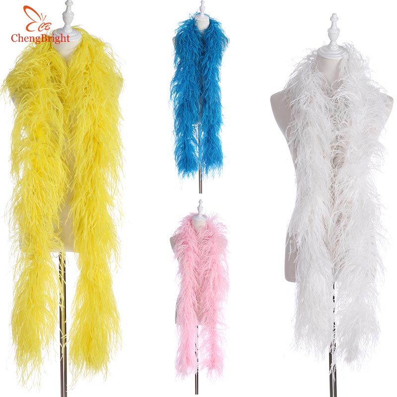 ChengBright Fluffy Natural White Ostrich Feather Boa Costumes Trim For Party Costume Shawl Craft Ostrich Feather