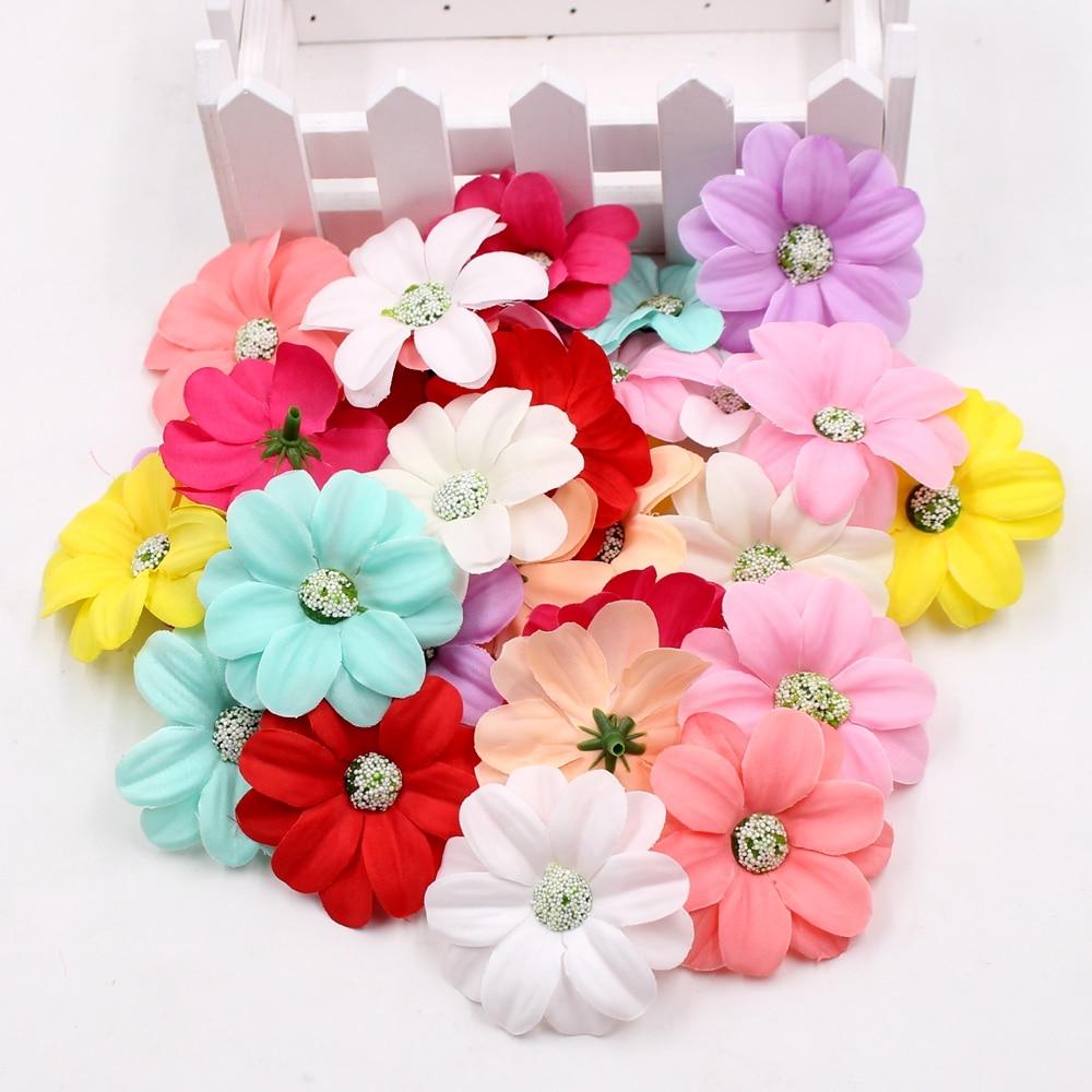 10pcs 5.5cm Artificial Silk Chrysanthemum Flower Small Daisy Flowers Home Wedding Decoration DIY Wreaths Clip Art Fake Flowers