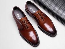 QYFCIOUFU Fashion Men Dress Shoes Vintage Brogue Oxford Shoes Fashion Genuine Leather Designer Shoes Wedding Formal Italian Shoe