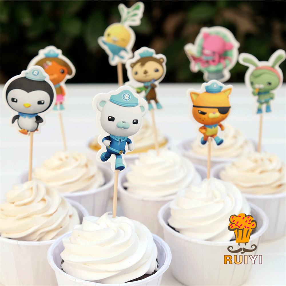 24pcs Octonauts Captain Barnacles Kwazii Peso Candy Bar Cupcake Toppers Pick Baby Shower Kids Birthday Party Supplies