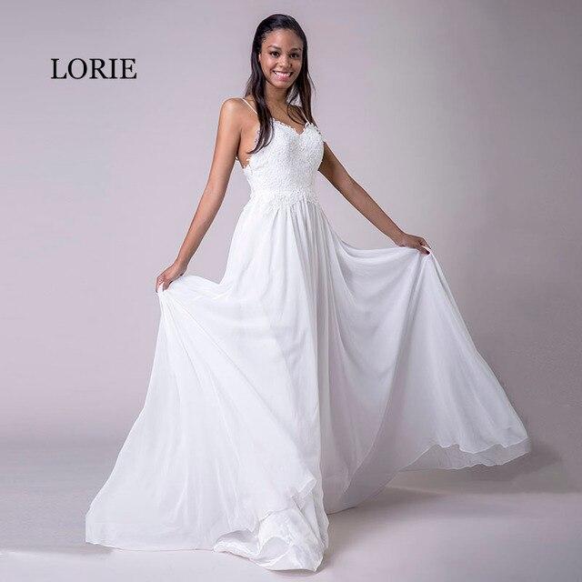 34e126f129 LORIE Spaghetti Strap Cheap Wedding Dresses Princess Backless Chiffon Lace  Sweep Train White Bride Dress Beach Wedding Gown 2018