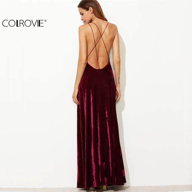61d182676a placeholder COLROVIE Burgundy Velvet Maxi Backless Dress Womens Autumn  Party Dresses Deep V Neck Long Elegant Dress