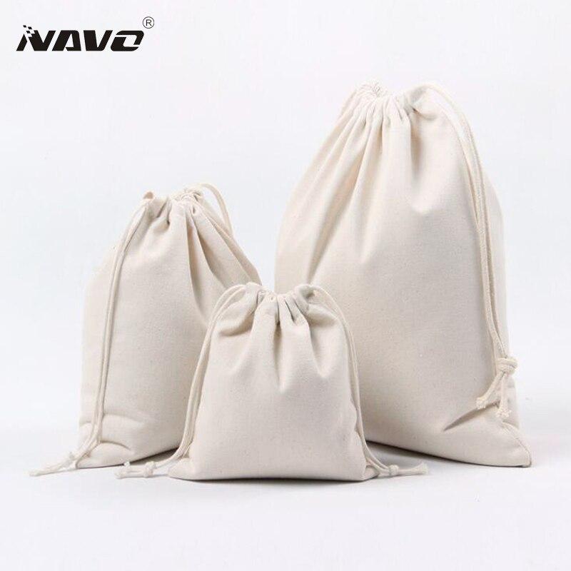 3pcs/set Dust Bag Cotton Drawstring Pouch Solid Calico Bag Cotton Canvas Cinch Bags Packing Organizer