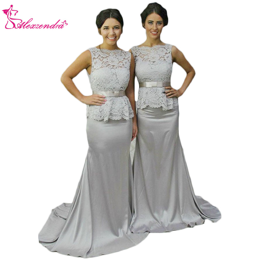 Alexzendra Silver Mermaid Bridesmaid Dress for Wedding V Back Lace Long Prom Dress Party Gown Custom Made