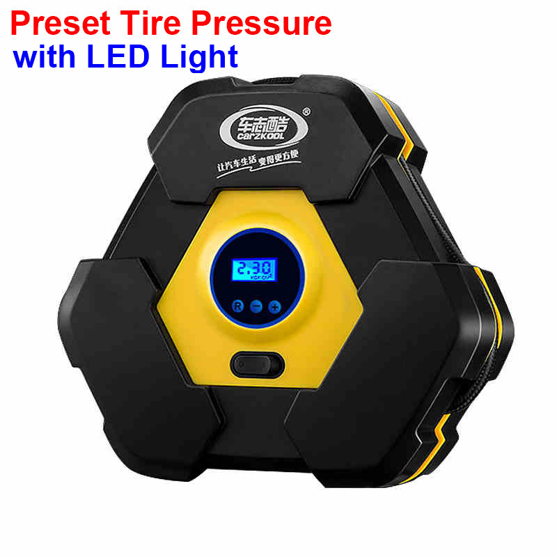 Carzkool 12V Cigarette Lighter Plug Auto Car Tire Inflator Car Air Compressor LCD Digital Display Inflatable Pump With LED Light