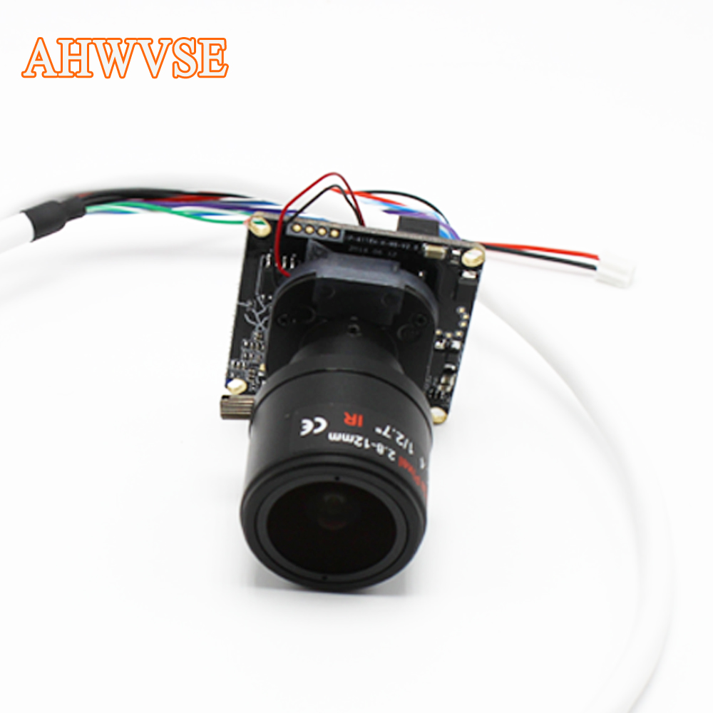 AHWVSE High Resolution H.264 1080P 720P 960P 25fps CCTV IP camera module board 2.8-12mm Lens with LAN cable ONVIF P2P ahwvse hi3516c imx322 1080p 25fps 720p 960p hd poe ip camera module board diy camera with lan cable onvif p2p ircut