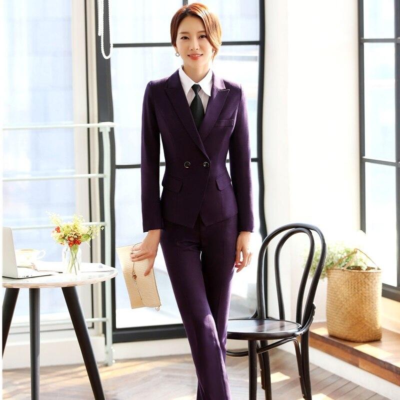 Microfibre Blue Haute Pantsuits Pantalons Ensembles purple 2 De Pour Styles Femmes D'affaires Vestes Et Nouveaux Qualité Avec Formelles Red gray Costumes Pièce Dark Blazers Pantalon Yq1pwI