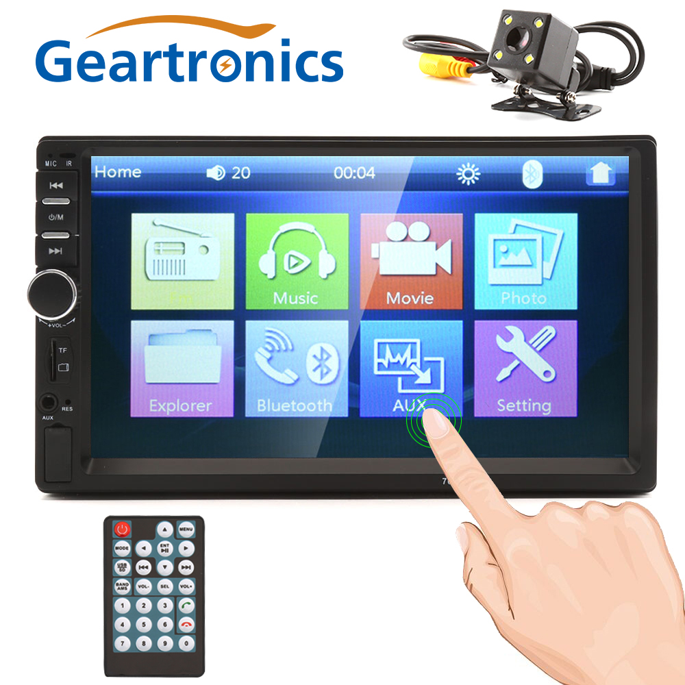 2 Din 7'' inch LCD Touch screen car radio player multiple Languages Menu bluetooth rear view camera car audio autoradio 7018B