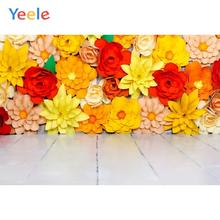 Yeele Wood Floor Photography Backdrops Flower Wall Baby Children Portrait Personalized Photographic Backgrounds For Photo Studio