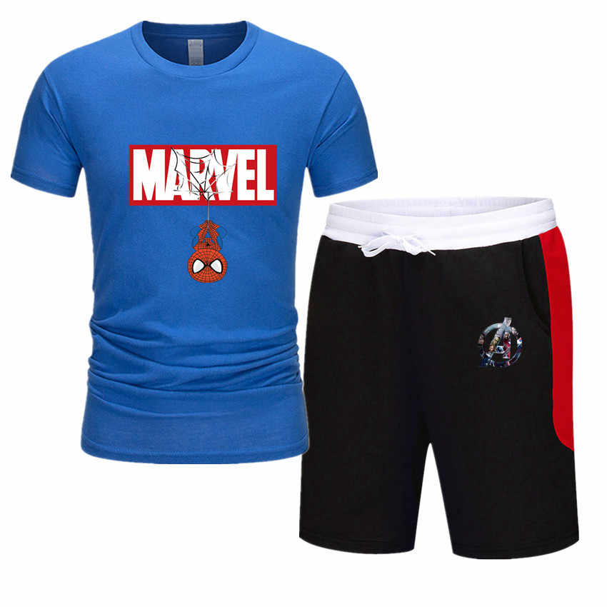 قطعتين مجموعة الرجال قصيرة الأكمام تي شيرت اقتصاص بلوزات + السراويل الرجال رياضية 2019 جديد السببية ملابس رياضية بلايز بنطال قصير