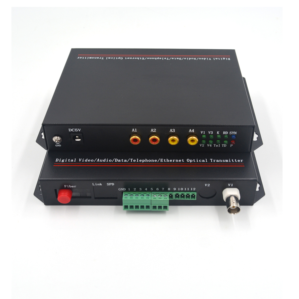 Multifunction Fiber Media Converter 8CH Video+10//100Mbps Ethernet Data S//M 20Km