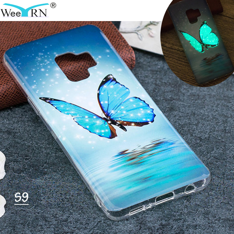 Galleria fotografica Butterfly Owl Luminous Silicone Case for Samsung Galaxy S9 G960F TPU Soft Cover Glowing in Dark Lighting Case for Samsung S9