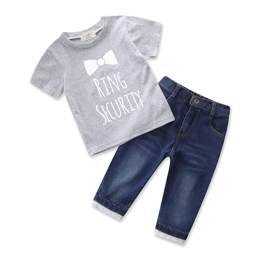 Baby Boy Clothes Grey Cotton T-shirt Jeans Cowboy Pants 2pcs Boy Clothing Set Summer Kids Clothes Children Daily Outfit for 1-5Y 2pcs set baby clothes set boy