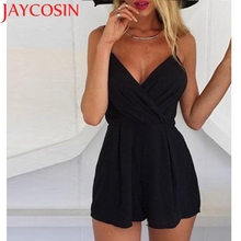 Фотография 2017 KLV Sleeveless V neck rhinestone summer jumpsuit romper Mesh party bodycon overalls clubwear short pants playsuit J614