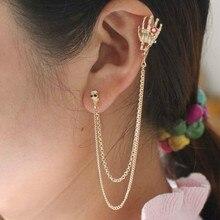 Punk Rock Skeleton Bone Hand Clip Earrings For Women Gold-Color Skull Ear Cuff Earrings Halloween Jewelry full body skeleton earrings 24k pure gold skull skeleton men and women gold earrings earrings
