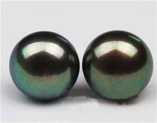 Charming Natural 10-11mm Black Tahitian Pearl Earring AA YL077