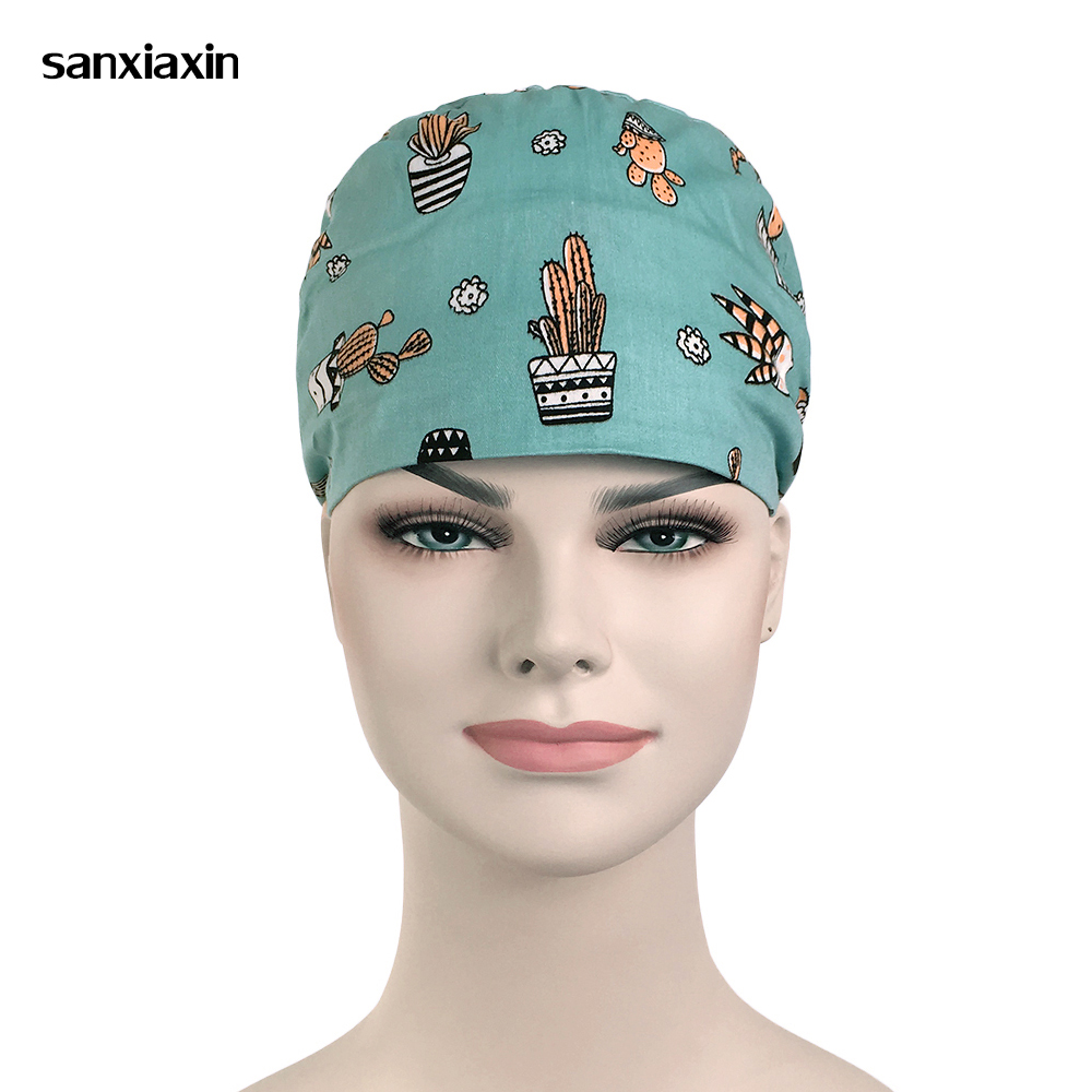 New Cute Print Medical Surgical Scrub Caps Surgical Surgeon's Surgery Hat Pet Doctor Cap/hats Dentist Cap/hats Food Service Hat