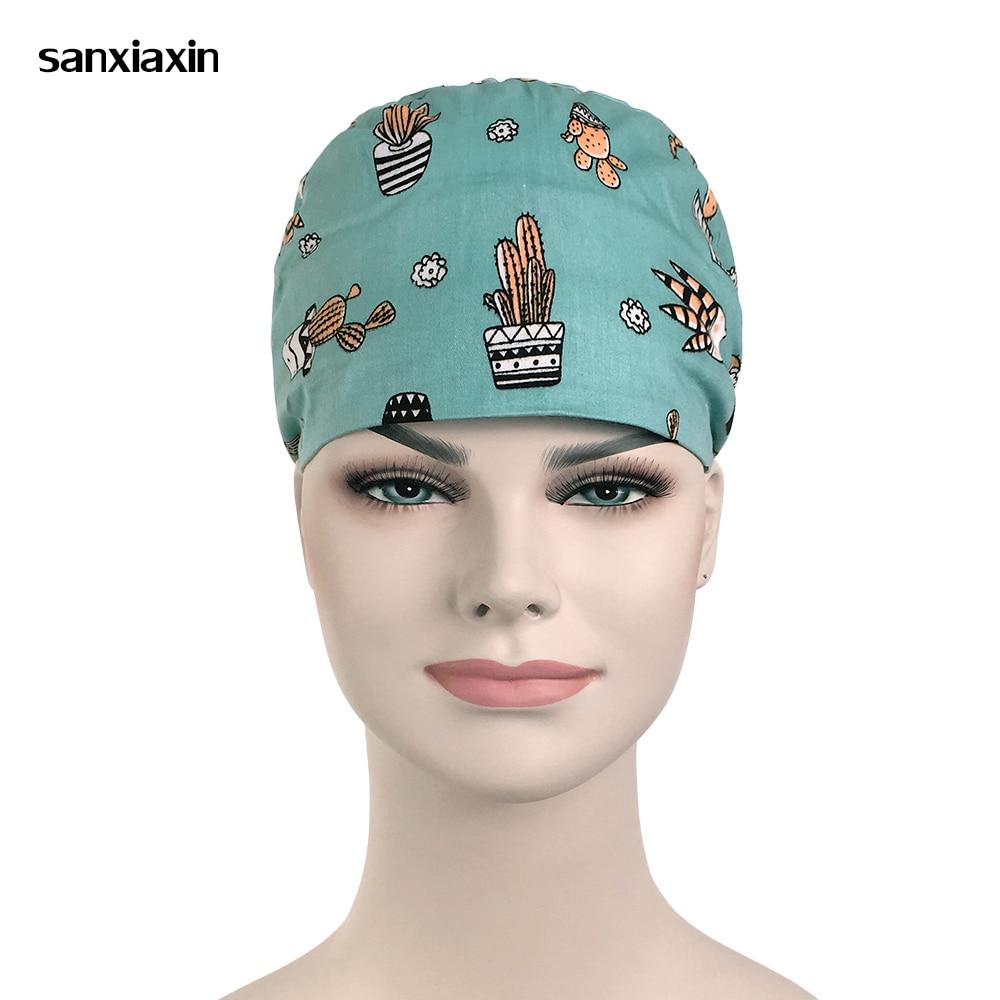 New Cute Print Medical Surgical Scrub Caps Surgical Surgeon's Surgery Hat Pet Doctor Cap/hats Dentist Cap/hats Food Service Hat