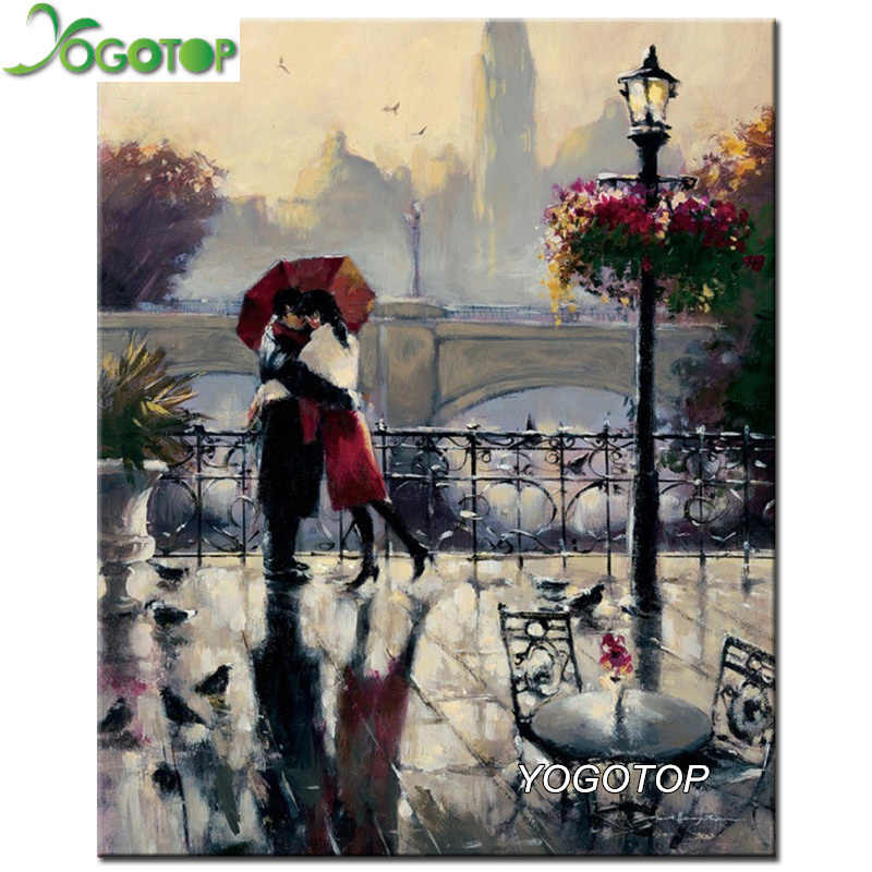 YOGOTOP DIY 5D Diamond Embroidery rain Lovers Square Diamond Mosaic Home Decor Full Diamond Painting Cross Stitch kits VS729