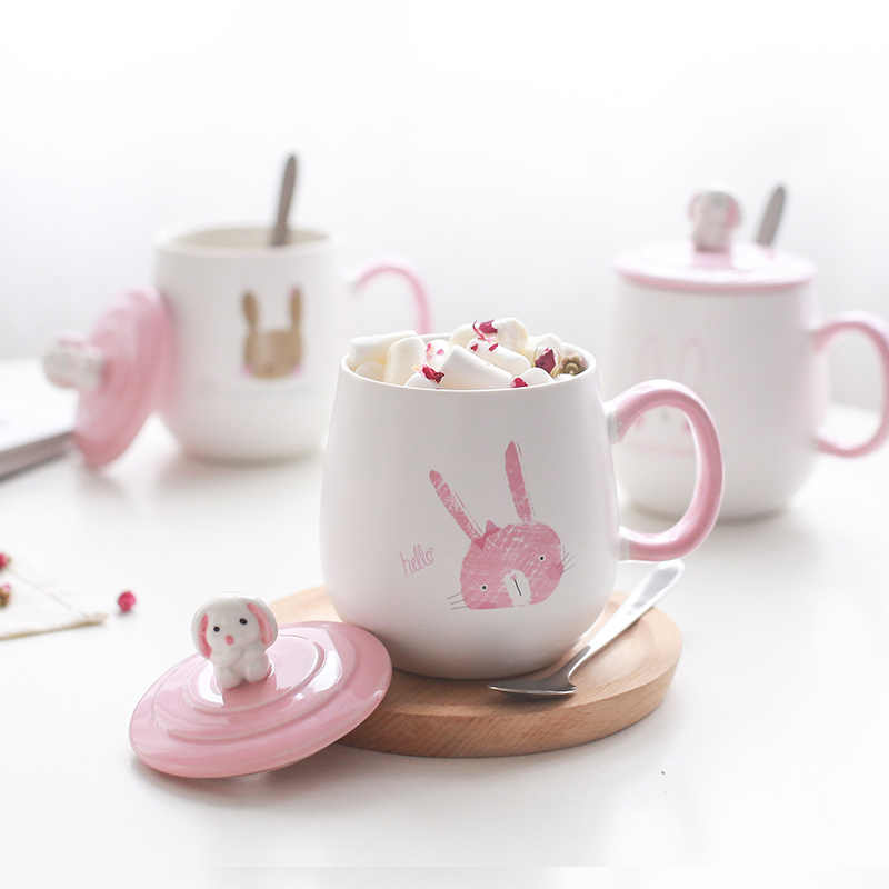 Cartoon Rabbit Heat-resistant Ceramics Cups Cute Children Mugs with Lid Spoon Milk Coffee Tea Cup Couple Mug For Office Gifts