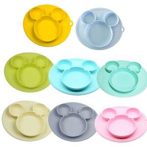 Bebê silicone placa crianças tigela placas de alimentação do bebê silicone tigela bebê sílica gel pratos crianças utensílios de mesa