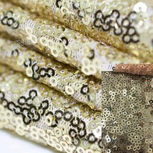 1 Yard Sequin Fabric Light Gold Allovered Two Way Stretch Sequin Lace Fabric Embroidered Fabric Night Dress Cloth Wedding Decor